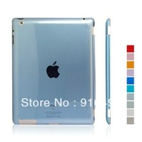 High quality Crystal pure color transparent hard back case cover for ipad 3 new ipad with freeshipping