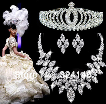 Free shipping crystal bridal jewelry sets hotsale necklace+earrings cheap jewelry wedding accessory