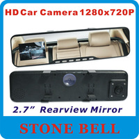 "Free shipping 2.0"" 2.0inch LCD screen  Rear View Rearview Mirror Car Camera 1280x720P Car DVR Video camera motion detection"