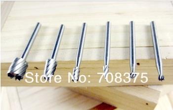Wholesale New 10set/lot  6PCs HSS Router Bits Burr Rotary Tools Wood router bit  Suit c Wood Root carving Shank 3.17mm