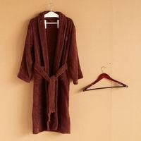 bathrobe for bathroom,beautiful cut pile Bathrobe, 100%cotton, Coffee color, Size L, XL, unisex, natural & eco-friendly, D006