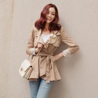 2013 Spring autumn Korean new fashion commuter solid color lapel flounced trench coat for women Khaki beige S M L 3120