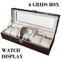 High Quality 6 Grids Watch Box in Croco PU Leather with Skylight Window Display Watch Storage Organizer Case