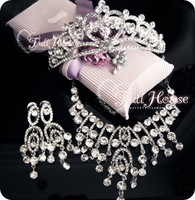 Vintage 18k white gold plated crystal jewelry bridal jewelry sets  wedding jewelry bijuterias necklace earrings