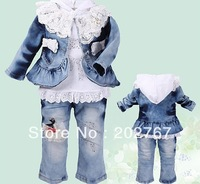 New Retail, Baby Girls (0-3year)  Floral Lace Bows Jeans Model (Jacket + Shirts+ Jeans) 3pcs  Set, Girls Suit freeshipping