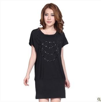 Free shippin! Women 2013 New Summer XXXL Dress Plus Size Purple Top Clothe Vintage Beading XXL Black /Blue Short Cotton Dresses