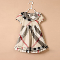 Free Shipping ! Wholesale Children's clothing kids clothes 2014 Summer Plaid dress Baby girl's dress fashion #C30101