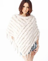 New Style Genuine Rabbit and Yarn Knitted ur Shawl with Tassel YR-099