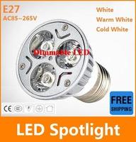 20X High power CREE E27 3x3W 9W AC110-240V Dimmable Light lamp Bulb LED Downlight Led Bulb Warm/Pure/Cool White