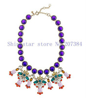 Brand Heavy Vintage Copper Blue Crystal Chain Tiered Pastel Mix Flower stone Pendant Statement Collar Choker necklace Item,AF920