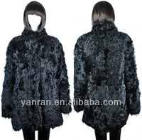YR-113 Stand Collar Genuine Sheep Lamb Fur Coat~Factory Direct Sale~Wholesale~Retail~OEM