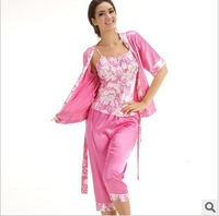2014new Quality goods household to take ms chun xia emulation silk pajamas lady short sleeve three-piece suit
