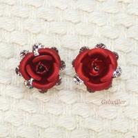 Min.order 2pcs,Italina Rigant Free Shipping 18K Rose Gold Plated Beautiful Rose Earring Fashion jewelry wholesale Birthday gift