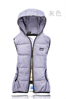 Free Shipping 2012 new autumn cotton vest  fashion Hooded Vest style ladies women vest SZIE XL-XXXL green blue purple gray
