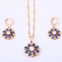 Lozenge set 18K Gold Plated Jewelry Earring Necklace Set Zircon Ruby SWA Element Crystal Health Nickel & Lead free JS210