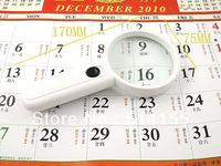 6B-5. Wholesale - 3X illuminated pocket Magnifier LED Lights Jewellery Identifying Loupe magnifier Free Shipping