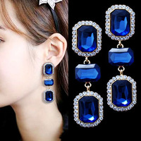Free Epacket shipping luxury sparking royal blue or green ultra long drop earrings PROMOTION NOW 6cm long