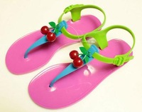 2014 New Cherry Comfortable Full Paillette Cow Muscle Outsole Flat Sandals Fashion Sandals Jelly Contrast Color T Sandals