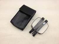 Designer Folding Optical Reading Glasses with  Leather Pouch, Black Frame Flat Reader, 15pcs/lot, Free Shipping
