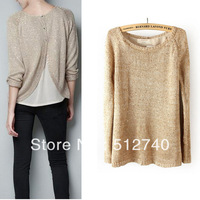 2013 Women's  New Arrival Fashion Paillette Decoration Behind The Button Placketing Sweater Knitted Shirt  Free Shipping