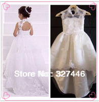 2013 New Hot Sale Wholesale Pageant Appliqued Beaded Flower Girl Dresses High Neck Backless With A Train New Girls Birthday Gown