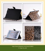 Newest Leopard Leather Case Cover for Luxury Ipad Mini Stand Back Cover with Sleep Mode 1pcs/Lot Free Shipping Free Gifts