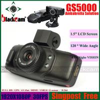 1.5 Inch Full HD 1080P CAR DVR GPS GS5000 Black With Ambarella Processor H.264 Vide Codec IR Night Vision