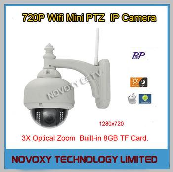 Free Shipping H.264 720P IR CUT ICR WIFI Wireless 3x Opitical Zoom IR 20m IP Outdoor Waterproof PTZ Dome Camera Incl. 8G TF Card