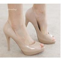 2013 latest European  peep toes platform shoes women sandals nude&black 11cm