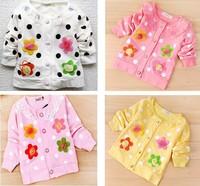 Free Shipping 100% cotton Sweet flower girls long-sleeved coat girls coat/children's clothes/baby cardigan 4pcs/lot