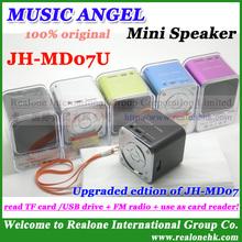 Original MUSIC ANGEL Speaker JH-MD07U Support USB DISK/TF card, FM radio+Card reader+Audio in, Cube Sound box mini speaker!(China (Mainland))