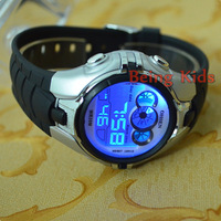 OHSEN  Silver Case Black Color Men Women Sport Digital AL 7 color BackLight  Soft Rubber Strap Wrist Watches New 0739-2