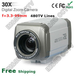 Security CCTV CCD 480TV Lines 30x Optical Auto Focus Zoom BOX Camera 3.3-99mm Lens(China (Mainland))