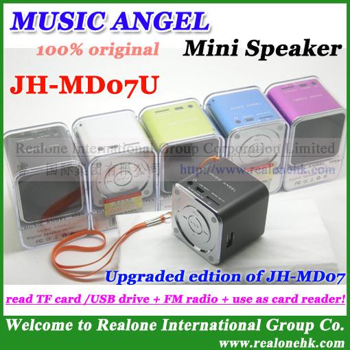 4pcs Free Shipping 100% original MUSIC ANGEL Mini Speaker JH-MD07U newest speaker read TF card/USB+FM radio+as card reader(China (Mainland))