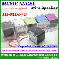 4pcs Free Shipping 100% original MUSIC ANGEL Mini Speaker JH-MD07U newest speaker read TF card/USB+FM radio+as card reader