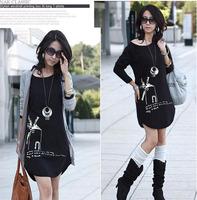2013 NEW fashion women plus size korean style casual print radian hem windmills hip long black T-shirt tops