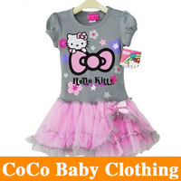 2013 Free Shipping Girl Hello Kitty Cute Dress Kids TuTu Dresses for 2-6y Girl