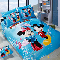 blue/red mickey and Minne Mouse 4pc cartton bedding set Cotton bedclothes Quilt/Duvet/Comforter cover bed sheet sets Queen size
