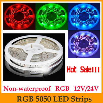 HOT!!! High quality 5M 5050 RGB LED Strip SMD 60led/m DC12V  indoor use non-waterproof