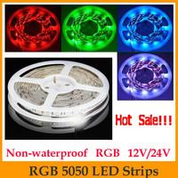 HOT!!! High quality 5M 5050 RGB LED Strip SMD 60led/m DC12V 24V indoor use non-waterproof