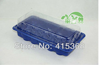 Free shpping! 10pcs 15Cells Blue Plastic Nursery Pots with tray&Transparent Cover, seed starting/breeding for Garden/home