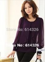 2014 Women Clothing. Fashion Skinny Sleeve Blouse Chiffon For Women, Long Sleeve Plus Size XXXXL Shirts,Summer  Free Shipping!