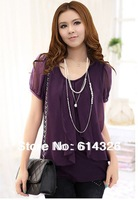 2013 HOT Women's Summer Chiffon Blouse  New Slim Short Sleeve Plus Size XXXXL  Shirts Fashion Tops .Free Shipping XYX104-1