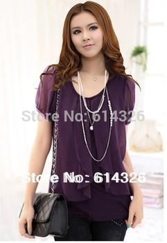 2014 Women Shirt ! New Fashion Spring Summer Autumn Chiffon Blouses Elegant Puff Sleeve Plus Size Shirt Women Slim Tops S-5XL