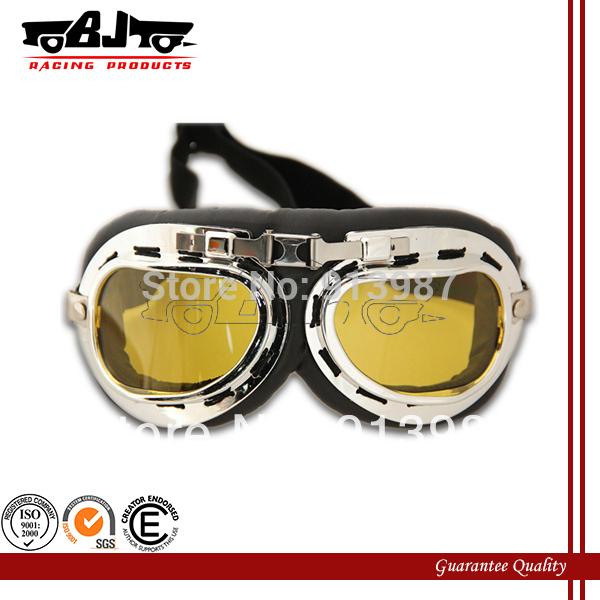 Bj-gt-001 1x moto occhiali ambra steampunk mezzo casco volo occhiali da aviatore occhiali