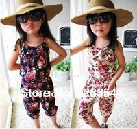 Hot  girl's summer suspender pant girl's flower Jumpsuits baby overalls girl trousers  pants 5pcs Factory price