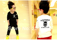 Retail Boy's Skull Printed T-Shirt Long Sleeve Hoodies Kids Spring Tops Children Tees  Children Clothing Size 100-140 TYT-003
