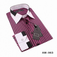 Free shipping! 2013 brand striped men's shirts long sleeve business shirts for men synthetic luxury S-4XL