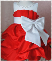 Retail 2013 Children Dress Girls Dresses High-grade Princess dress chiffon Big bowknot dresse for Summer Kids Clothing 1PCS