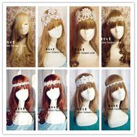 Hotsale beauty 20Color white flower lace hair band elastic headbands bridal wedding hair accessories for women girls children